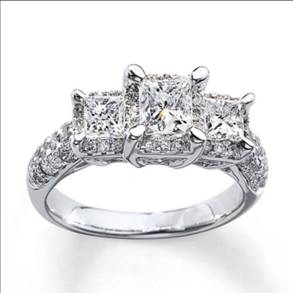 Kay Jewelers Jewelry Three Tiered Princess Cut Diamond Engagement Ring Poshmark